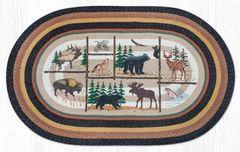 Lodge Animals Oval Rug