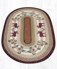 Moose and Pinecone Oval Rug