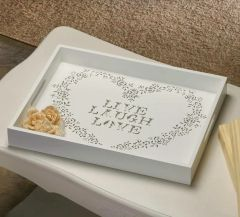 White Wood Live Laugh Love Tray