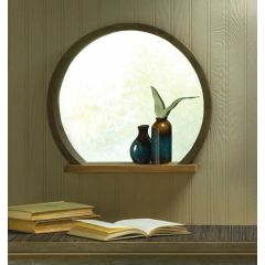 Round Wood Mirror with Shelf