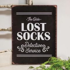 Lost Socks Detective Service Distressed Metal Sign