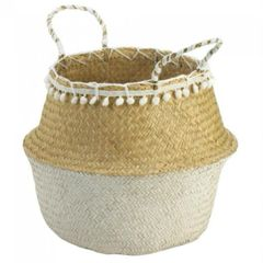 Collapsible Seagrass Basket with Tassel Border