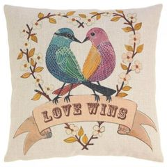 Love Wins with Love Birds Decorative Throw Pillow