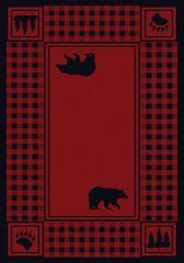 Bear Refuge Rug- Rectangle - 8x11 - Red