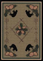 Pine Cone Bears Rug- Rectangle - 8x11 - Green