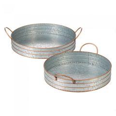 Galvanized Metal Round Tray Set