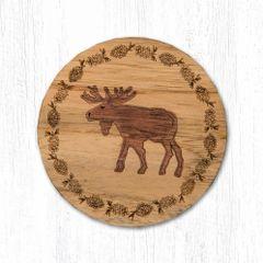 Moose Teak Wood Coaster Set
