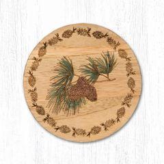 Pinecone Teak Wood Coaster Set