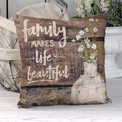 """""""FAMILY"""" VINTAGE BOTTLE PILLOW"""