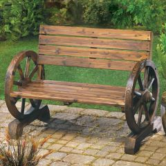 Wagon Wheel Themed Garden Bench