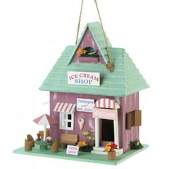 Ice Cream Shop Wood Bird House