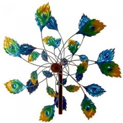 Peacock Feathers Garden Windmill Stake - 75 inches
