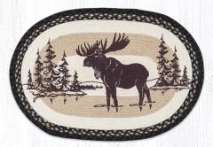 Moose Silhouette Oval Rug