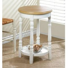 Wood-Top Round End Table