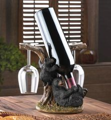Black Bear Wine Bottle and Glasses Holder