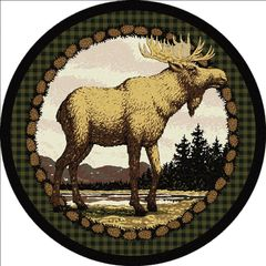 Majestic Moose - Round - 8ft round - Green Rug