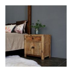 Asuna Side Table Cabinet, Natural, Recycled Old Pinewood