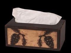 Iron Pine Cone Rectangle Tissue Box Cover