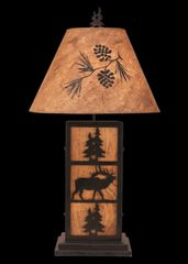 Kodiak Elk and Tree Iron/Wood Table Lamp- Pine Tree Shade