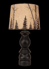 "Antique Black Small ""B"" Pot Table Lamp- Birch Tree Shade"