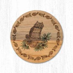 Owl Teak Wood Coaster Set