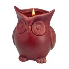 Ceramic Owl Scented Candle - Cranberry Apple Crisp