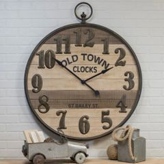 Metal/Wood Wall Clock