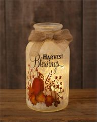 Frosted Glass Luminary - Harvest Blessings, Burlap Bow