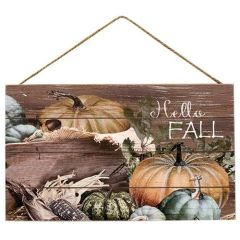Hello Fall Harvest Wall Sign with Jute Rope
