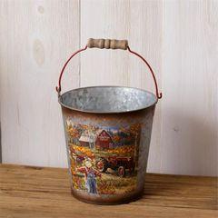 Bucket - Wood Handle, Pumpkin Patch