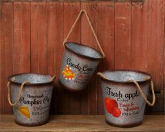 Buckets - Fresh Apple Cider, Pumpkin Pie, Candy Corn Set of 3