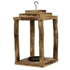 Natural Wood Pillar Lantern