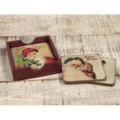 4/Set, Vintage Joyful Christmas Coasters