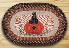 Black Cat Pumpkin 20x30 Oval Rug