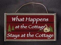 What Happens at the cottage Sign