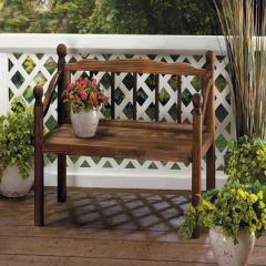 Country Garden Wood Bench Plant Stand