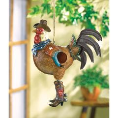 Western Cowboy Rooster Birdhouse