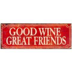Metal Good Wine Wall Plaque