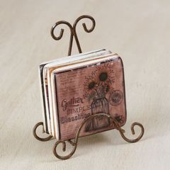 """""""Gather simple blessings"""" Coaster set of 4 with metal stand"""