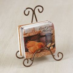 """""""COUNT YOUR BLESSINGS"""" Coaster set of 4 with metal stand"""