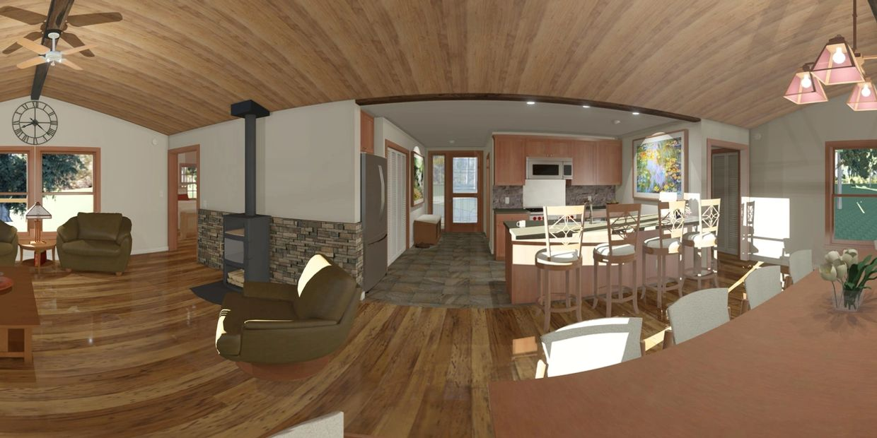 360 degree interior rendering of The Bunkhouse, backdrop 360 of actual site clocked to building orientation.