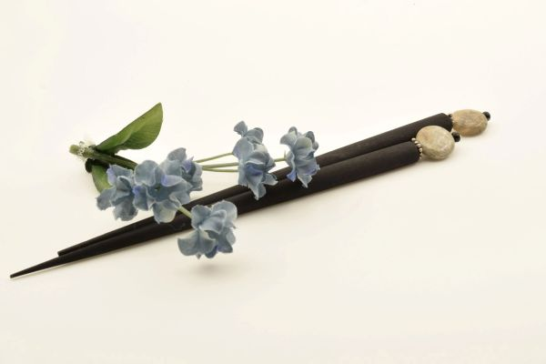 Hair Sticks, Black Wooden Hair Sticks with natural stone accent