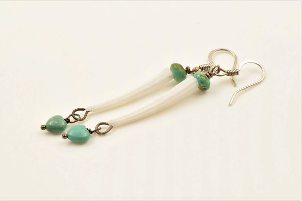 Dentillium shell Earrings with a touch of turquoise