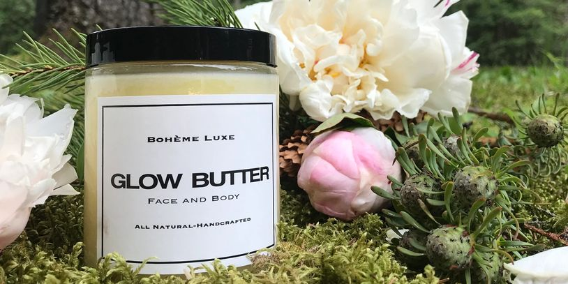 Glow Butter with beautiful flowers, glowing skin