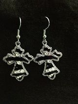 Earrings Black and Silver Cross