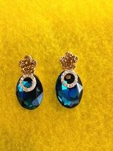 Blue and Gold Stylish Evening Earrings