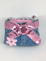 Pink and Blue Denim Mini Jean Purse