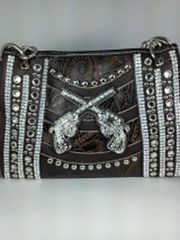 Western Crossing Guns Rhinestone Handbag Brown