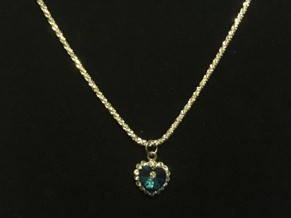 Blue Heart Pendant with Necklace