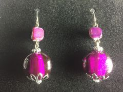 Purple Bead Dangle Earrings